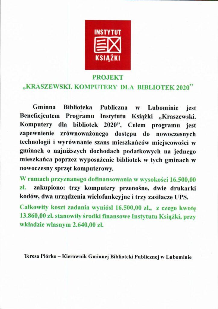 """Skan dokumentu z informacją o projekcie """"Kraszewski. Komputery dla bibliotek 2020""""."""