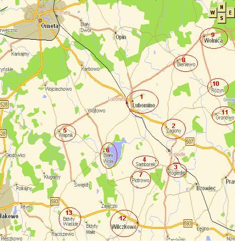 Mapa Gminy z zaznaczonymi Sołectwami