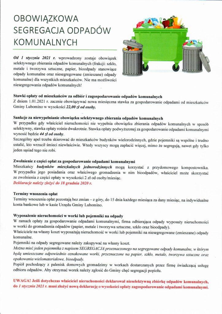 Skan informacji dot. segregacji odpadów komunalnych od 1 stycznia 2021r.
